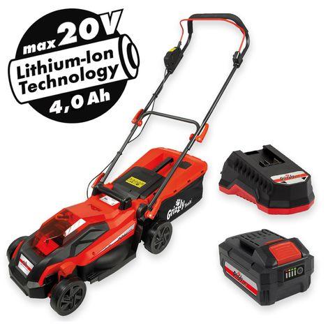 4 Ah et chargeur rapide Grizzly ARM 2033-22 Lion Tondeuse /à gazon sans fil Largeur de coupe 33 cm Hauteur 5 niveaux avec batterie 20 V