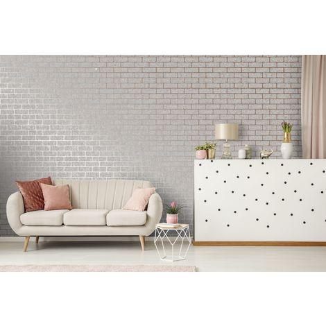 Superfresco Grey/Rose Gold Milan Metallic Brick Wallpaper