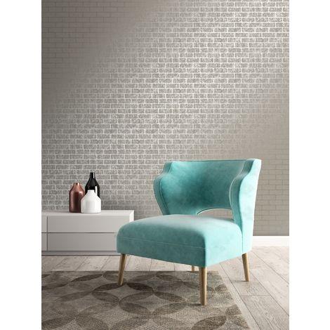 Superfresco Taupe/Gold Milan Metallic Brick Wallpaper