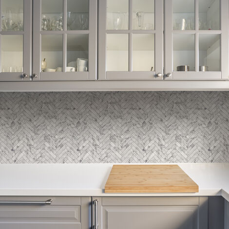 Contour Antibac Marble Chevron White Tiled Wallpaper
