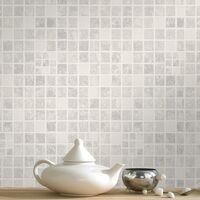 Contour Earthen Tile Effect Kitchen Bathroom Grey Wallpaper (Was £15)