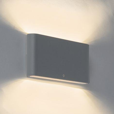 QAZQA + Moderno Aplique moderno gris oscuro 17.5cm LED IP65 - BATT Aluminio /Vidrio Rectangular Incluye LED Max. 2 x 12 Watt