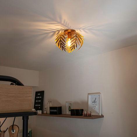 QAZQA + Retro/Vintage Plafón vintage oro 24cm - BOTANICA Acero Redonda /Orgánica Adecuado para LED Max. 1 x 60 Watt