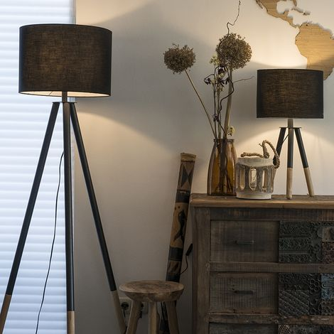 QAZQA + Moderno Set trípode mesa y de pie pantallas negras - PIP Madera Redonda Adecuado para LED Max. 1 x 40 Watt