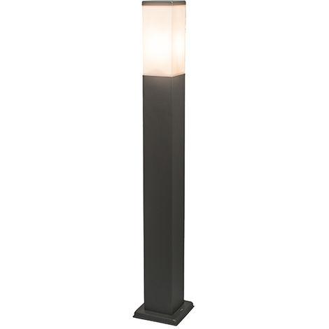 QAZQA + Moderno Baliza moderna gris oscuro 80cm IP44 - MALIOS Plástico /Acero inoxidable Cubo /Rectangular /Alargada Adecuado para LED Max. 1 x 60 Watt