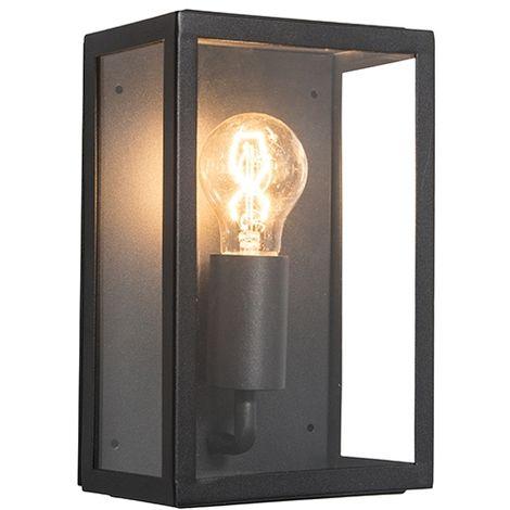 QAZQA + rústico Aplique industrial negro con vidrio IP44 - ROTTERDAM 2 /Acero inoxidable Rectangular Adecuado para LED Max. 1 x 60 Watt