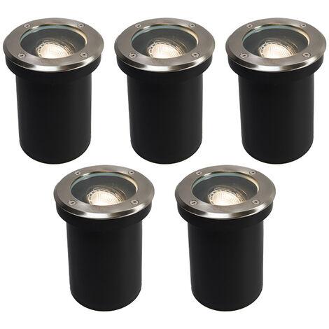 QAZQA + Moderno Set de 5 focos empotrado suelo moderno acero RVS IP65 - DELUX Vidrio /Plástico /Acero inoxidable Redonda Adecuado para LED Max. 5 x 50 Watt