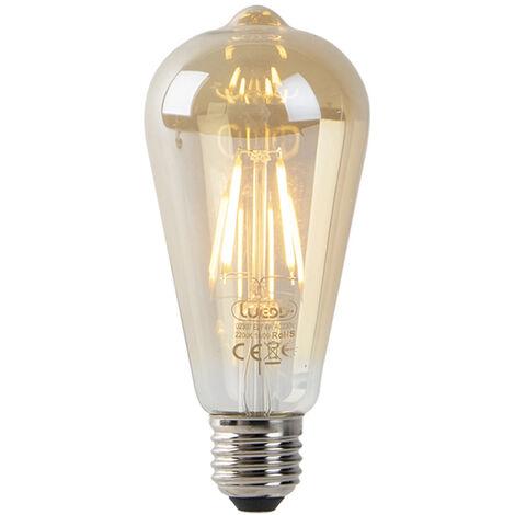 LUEDD Set 3 bombillas filamentos dorado crepuscular LED ST64 2200K