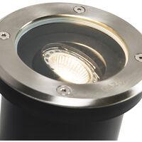 QAZQA + Moderno Foco de suelo moderno acero inoxidable IP65 - DELUX Vidrio /Plástico / Redonda Adecuado para LED Max. 1 x 50 Watt