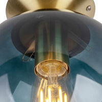 QAZQA + Art Déco Plafón Art Dèco latón con cristal azul marino - PALLON Vidrio /Acero Esfera Adecuado para LED Max. 1 x 25 Watt