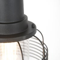 QAZQA rústico Lámpara colgante rústica negra IP44 - GUARDADO Aluminio /Vidrio Redonda Adecuado para LED Max. 1 x 60 Watt