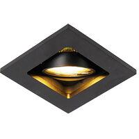 QAZQA + Moderno Foco empotrado negro - QURE Aluminio Cuadrada Adecuado para LED Max. 1 x 50 Watt