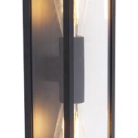 QAZQA Diseño Aplique industrial negro 38cm 2-luces IP44 - CHARLOIS Aluminio /Plástico Rectangular Adecuado para LED Max. 2 x 40 Watt