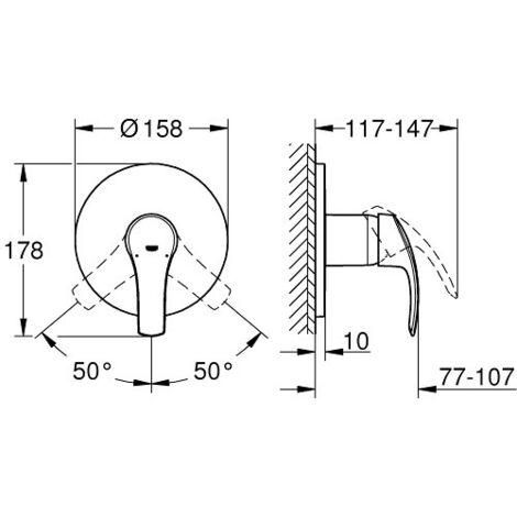 grohe eurosmart mitigeur mecanique 1 sortie douche 24042002