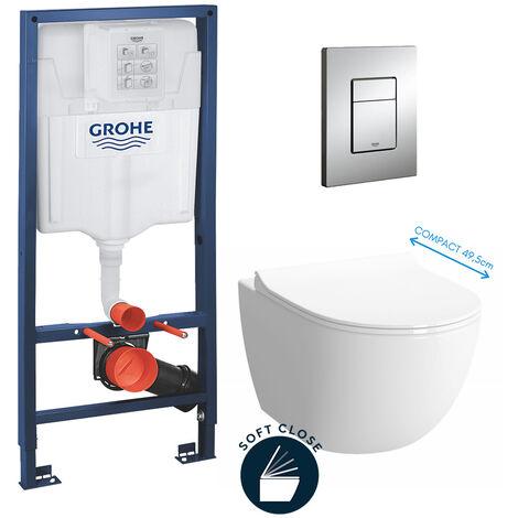 Grohe Pack WC Bâti + cuvette Sento compacte + plaque de commande chrome (GROHE-SentoCOMPACT)
