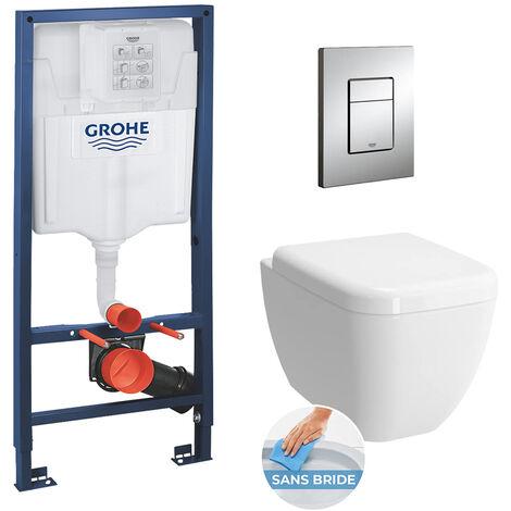 Grohe Pack WC Bâti + Cuvette Vitra Shift RIM-EX (sans bride) + Abattant soft close + Plaque de commande chrome (GROHE-Shift)