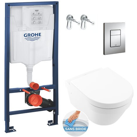 Grohe Pack WC Bâti Rapid SL + Cuvette Villeroy&Boch Architectura sans bride fixations invisibles (Architectura2Perfect-1)