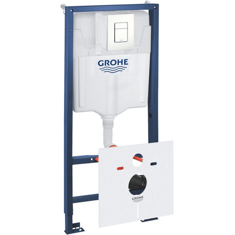 Grohe Pack WC Bâti-support Rapid SL + Plaque de Commande Skate Cosmopolitan Blanc Alpin + Fixations + Set d'isolation (38528001-4)