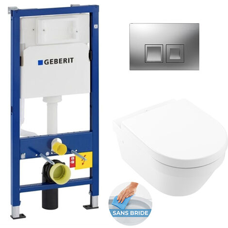 Geberit Pack WC Bâti UP100 + Cuvette Architectura sans bride fixations invisibles + Plaque chrome (Architectura2Geb2)