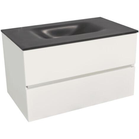 Naturel Verona Set Meuble 66cm suspendu blanc mat avec 2 tiroirs fermeture lente + Vasque marbre coulé noir mat (Verona66NB)