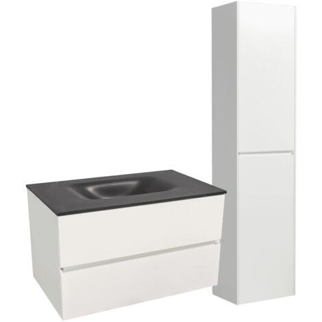 Naturel Set Meuble 66cm suspendu blanc mat avec 2 tiroirs + Vasque en marbre coulé noir + Armoire (Verona66NBB)