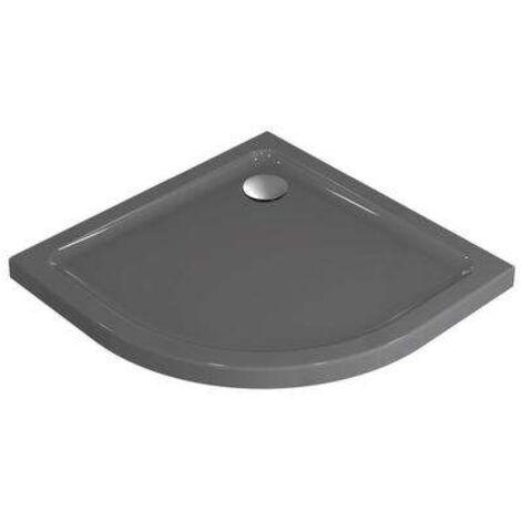Ideal Standard Idealsmart Receveur quart de cercle extra-plat antidérapant, à poser 90 x 90 cm, Gris émaillé (R1553YT)