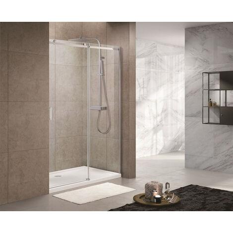 Swiss Aqua Technologies T-Linea Porte coulissante de douche verre trempé Easy Clean 120x200cm, Ouverture droite à gauche (TLDNEW120P01)