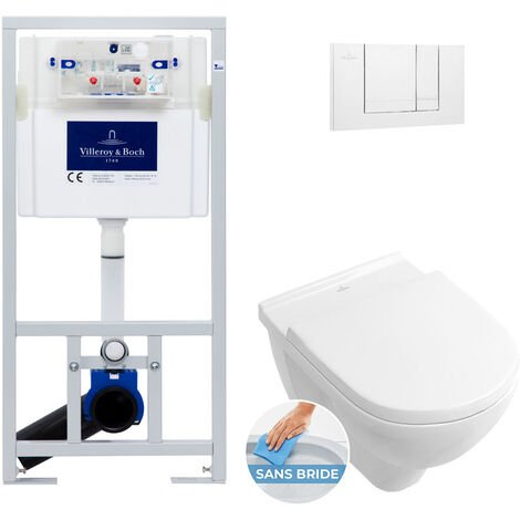 Villeroy & Boch Pack WC Bâti-support avec Cuvette O.Novo + Abattant softclose + Plaque Blanche (ViConnectOnovo-2)