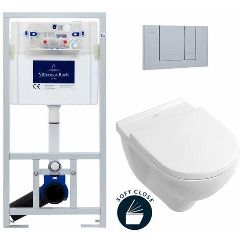 Villeroy & Boch Pack WC Bâti-support avec Cuvette O.Novo + Abattant softclose + Plaque chrome mat (ViConnectOnovo-3)
