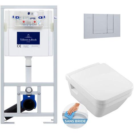 Villeroy & Boch Pack WC Bâti-support avec Cuvette Villeroy & Boch Architectura rimless + Abattant softclose + Plaque chrome (ViConnect5685-3)