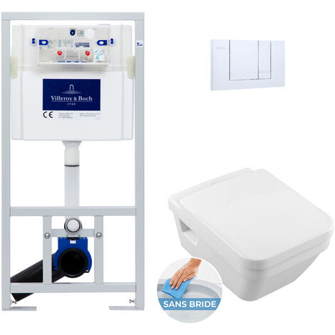 Villeroy & Boch Pack WC Bâti-support avec Cuvette Architectura rimless + Abattant softclose + Plaque chrome (ViConnect5685-1)