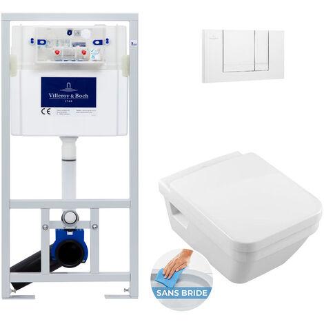 Villeroy & Boch Pack WC Bâti-support avec Cuvette Architectura rimless + Abattant softclose + Plaque blanche (ViConnect5685-2)