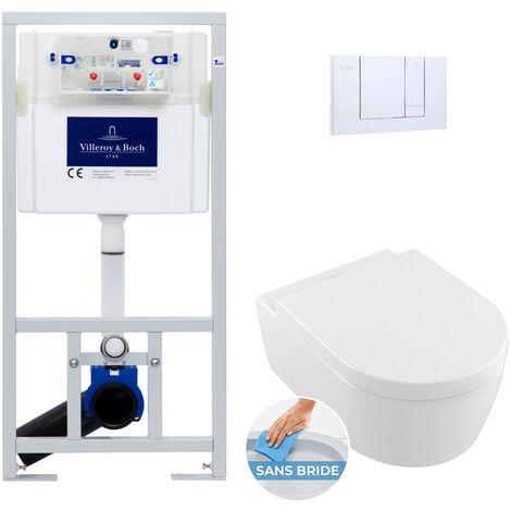 Villeroy & Boch Pack WC Bâti-support Cuvette Avento rimless et fixations invisibles + Abattant softclose + Plaque chromée (ViConnectAvento-1)