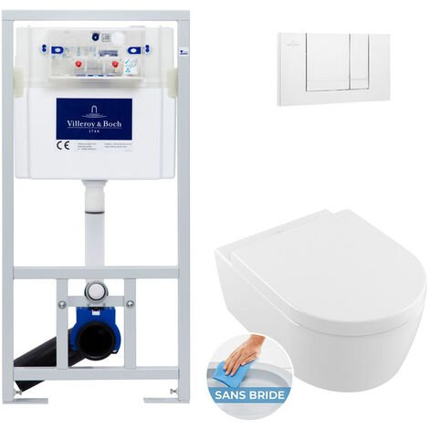 Villeroy & Boch Pack WC Bâti-support Cuvette Avento rimless et fixations invisibles + Abattant softclose + Plaque blanche (ViConnectAvento-2)