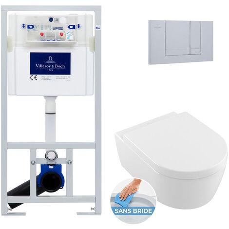 Villeroy & Boch Pack WC Bâti-support Cuvette Avento rimless et fixations invisibles + Abattant softclose + Plaque chrome mat (ViConnectAvento-3)