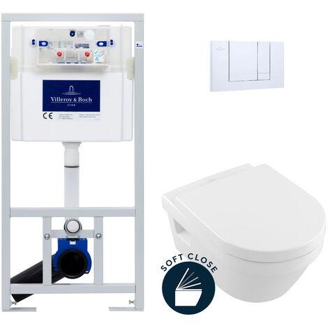 Villeroy & Boch Pack WC Bâti-support avec Cuvette Architectura + Abattant Softclose + Plaque Chrome (ViConnectArchi-1)