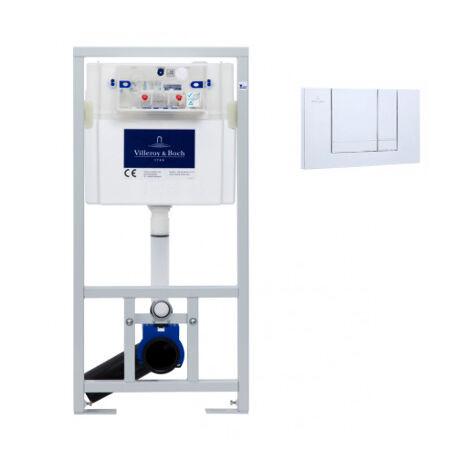 Villeroy & Boch Viconnect Pro Pack Bâti support pour WC suspendu + Plaque double touche chrome + Manchon 90/100 (92214461VS0)