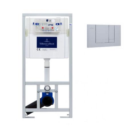 Villeroy & Boch Viconnect Pro Pack Bâti support pour WC suspendu + Plaque double touche chrome mat + Manchon 90/100 (92214469VS0)