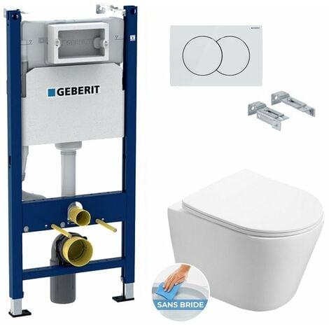 Geberit Pack WC Bâti-support + WC Swiss Aqua Technologies Infinitio sans bride, fixations invisibles + Plaque blanche