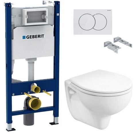Geberit Pack WC Bâti-support avec Cuvette Kolo Rekord + Abattant + Plaque blanche (KoloGeb3)