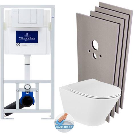 Villeroy & Boch Pack WC Bâti-support + WC Roca The Gap sans bride fixations invisibles + Plaque blanche + Set habillage (ViConnectGap-2-sabo)