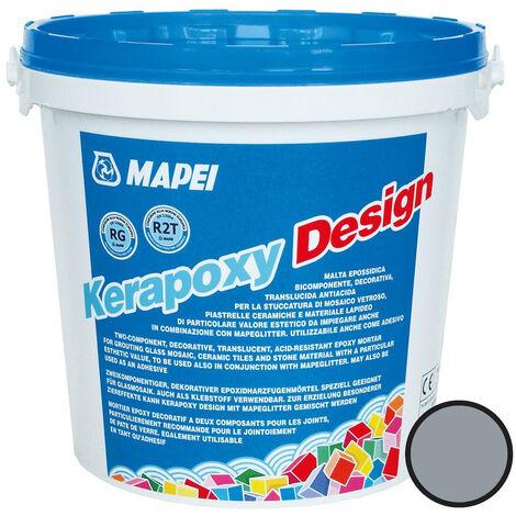Mapei Kerapoxy Design Mortier époxy décoratif, antiacide, Joint carrelage mosaïque, piscine et plus, Gris perle (MAPXDESIGN3720)