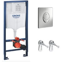 Grohe Set Bâti-support Rapid SL + Equerres murales + Plaque Grohe Skate Air chrome (38528001-A)