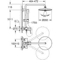 Grohe Euphoria System Colonne de douche avec mitigeur monocommande, Chrome (23061002)