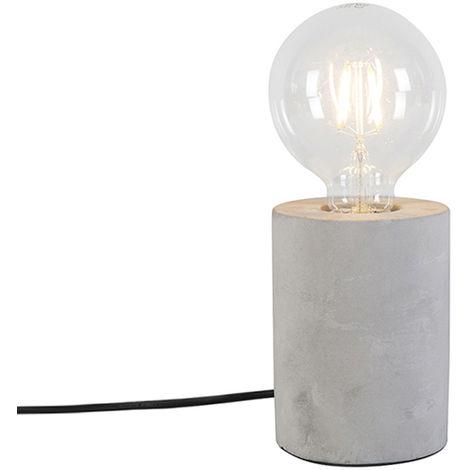 Qazqa Lampada Da Tavolo Bloque Tl Moderno Pietra Calcestruzzo Grigio Cilindro Max 1 X Watt 92581