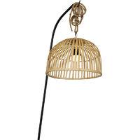 QAZQA Lampada da terra con paralume maurice - Orientale - Bamboo,Acciaio - Legno/Nero - Oblungo (non sostituibile) LED Max. 1 x 1.5 Watt