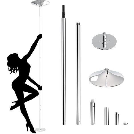Barre de Pole Dance, Barre de Dance, Argent, Rond, Barre d'extension, Matériau: Acier