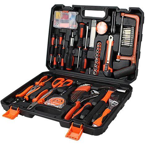 Malette à Outils, Valise de Bricolage, Avec une mallette noire, 114 outils, Matériau: Acier, Plastique