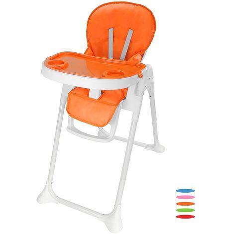 Chaise Haute pour Bébé, Chaise Pliante pour Bébé, Orange, Taille déployée: 105 x 89 x 56 cm