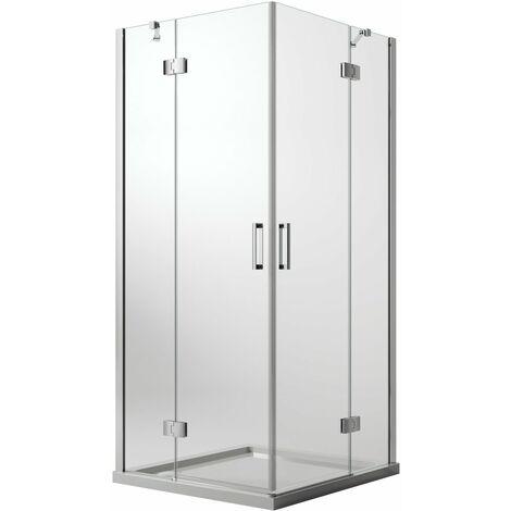 Mampara de ducha 80x80 CM H190 Vidrio Transparente con Easyclean mod. Flip Hoja+ Hoja Ap. Abatible